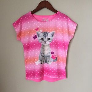 Jumping beans cat kitty kitten t-shirt pink dots